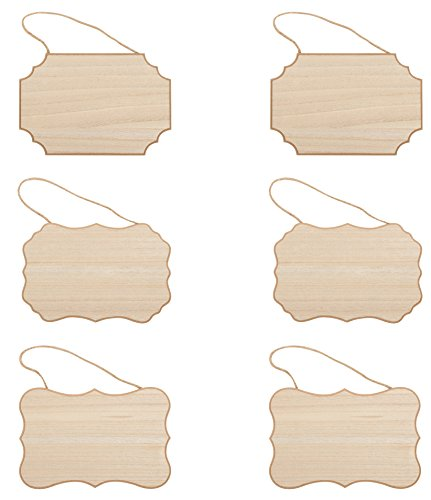 Juvale Unfinished Hanging Wood Sign (9 x 6 x 0.25 in, 6-Pack)