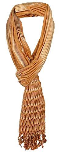 TigerTie gecrashter sjaal in oker beige oranje grijs gestreept met franjes - 190 x 60 cm