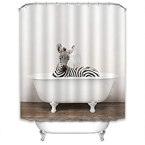 Xlabor Lustig Tier Duschvorhang Badewannevorhang Wasserdicht Anti-Schimmel Stoff inkl. 12 Duschvorhangringe für Badezimmer Zebra 180x200cm