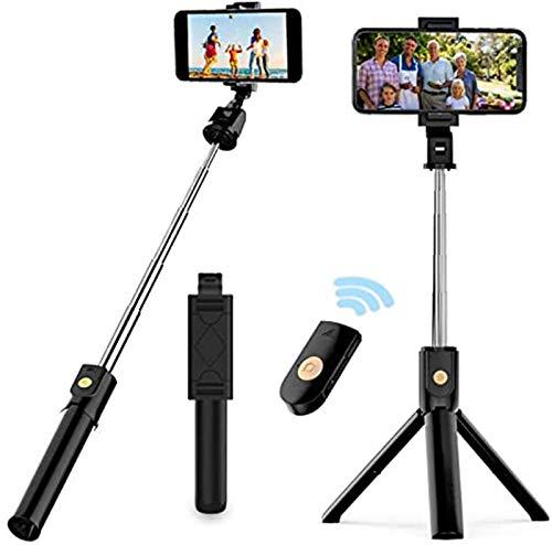 Selfie Stick Trípode, extensible Bluetooth selfie Stick con mando a distancia inalámbrico, compatible con iPhone 11/11 pro/X/8/8P/7/7P/6s/6, Samsung Galaxy S9/S8/S7/Note 9/8, Huawei y más