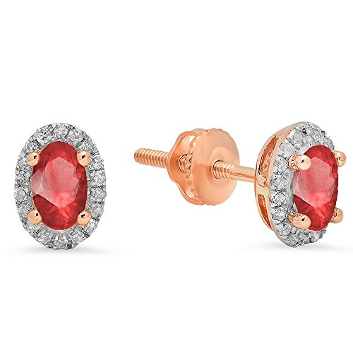 Dazzlingrock Collection 10K Oval Cut Ruby & Round White Diamond Ladies Halo Stud Earrings, Rose Gold