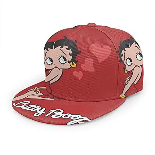 Betty Boop Unisex Novelty Baseball Cap Distinctive Cartoon Hat Vintage Adjustable Snapback Dad Cap Black