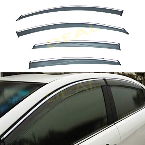 DEAL AUTO ELECTRIC PARTS 4-Piece Set Outside Mount Tape On/Clip On Type Smoke Tinted Sun/Rain Guard Vent Window Visors With Chrome Trim Compatible With 2013-2018 Altima 4-Door Sedan Only