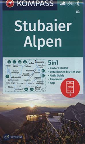 KOMPASS Wanderkarte Stubaier Alpen: 5in1 Wanderkarte 1:50000 mit Panorama, Aktiv Guide und Detailkarten inklusive Karte zur offline Verwendung in der ... Skitouren. (KOMPASS-Wanderkarten, Band 83)
