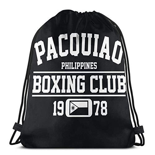 LREFON Mochila Saco Club de Boxeo Pacquiao Logo-Mochila Saco-Negro