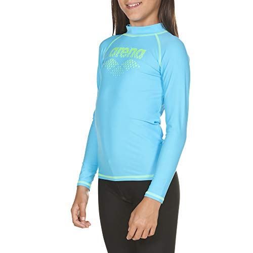 ARENA Mädchen Sonnenschutz Langarm Shirt Uv, sea Blue-Shiny Green, 128