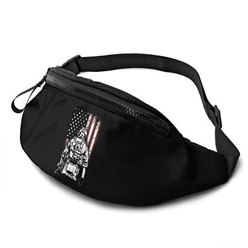 AOOEDM Gürteltasche für Männer Frauen, American Soldier Battlefield Casual Outdoor Taillentasche für Workout Travel Wandern