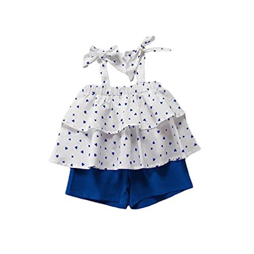 Juego de 2 pantalones cortos para bebé y niñas, con estampado de corazón, con cordones, con cordones y pantalones cortos de color sólido para niños