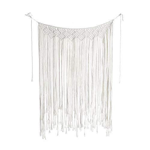 Asudaro - Cortina de macramé, 107 x 75 cm, hecha a mano, algodón tejido, para interiores, exteriores, bodas, fondo bohemio, decoración del hogar