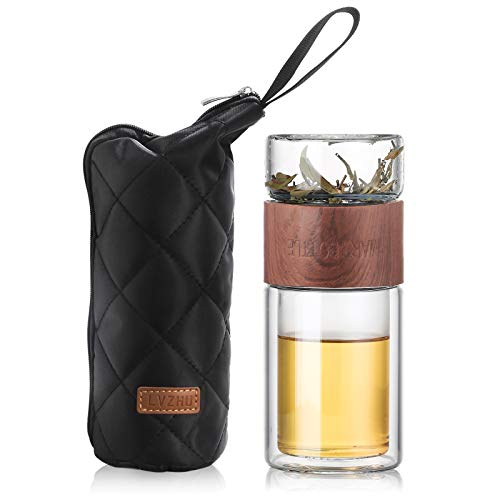 ONEISALL Glass Tea Infuser - 7oz Travel Mug with Strainer, Tea Tumbler Bottle for Loose Leaf Tea, Fruit and Cold Brew Coffee (Brown)