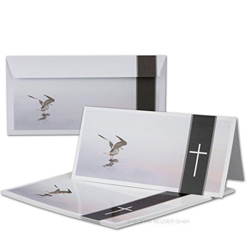 50 x rouwset // dubbele rouwkaarten met enveloppen DIN lang 21 x 19,8 cm // hoogglans // Serie: Helmar - Möwe