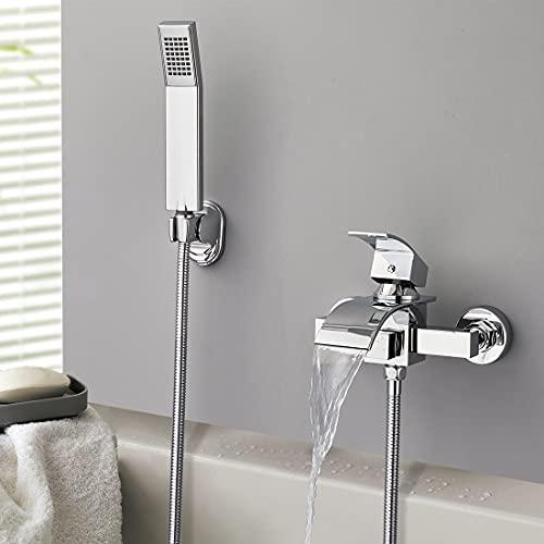 WOOHSE Grifo monomando para bañera y ducha de mano, incluye alcachofa de ducha y soporte de pared, de latón, cromado