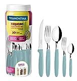 Tramontina Ipanema 23398-288 - Set di posate da tavola per 6 persone, 30 pezzi, in acciaio INOX, manico azzurro