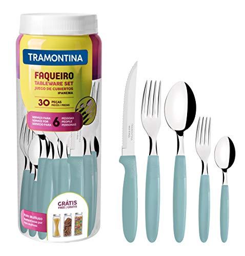Tramontina 23398/288 Ipanema - Cubertería para 6 personas (30 piezas, acero inoxidable,...