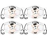 Mascarilla facial reutilizable y lavable para mujeres hombre máscara ajustable linda con filtros paquete de 4 con 0 filtros