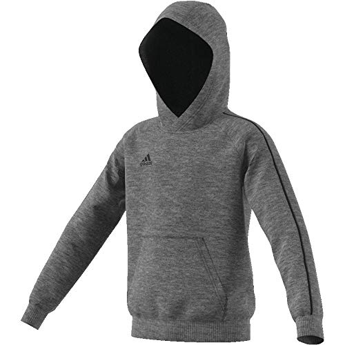 adidas Kinder Core 18 Hoodie, Grau (Dark Grey Heather/Black), 116