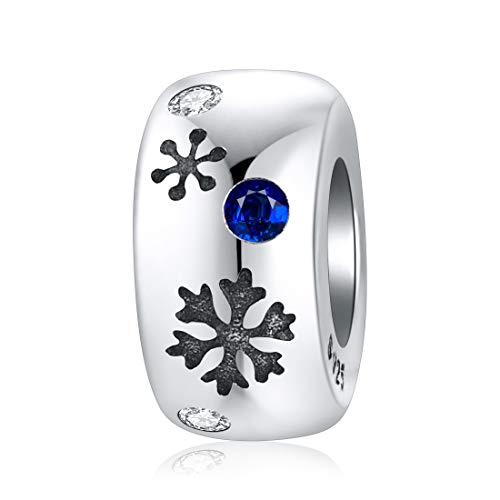 Jiayiqi, perline distanziali in argento Sterling 925 a forma di fiocco di neve, per braccialetti Pandora da donna