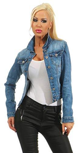 Fashion4Young 4978 Damen Jeansjacke Damenjacke Jeans Jacke Kurze Jacke Stretch-Denim (Blau, XL-42)