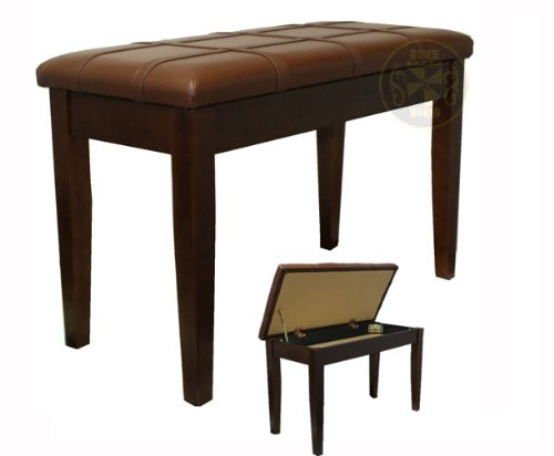 Best Deals! 30 Inch Walnut Satin Long Upright Duet, Fully Padded Leatherette Piano Bench w/Music Sto...