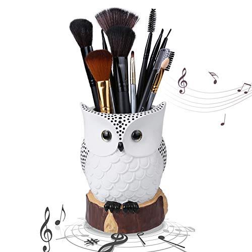 iGutech organisateur de maquillage hibou avec fonction boîte à musique, porte-pinceau de maquillage de luxe en polyrésine avec perles blanches, cadeau d'anniversaire, de Noël, cadeau de décoration.