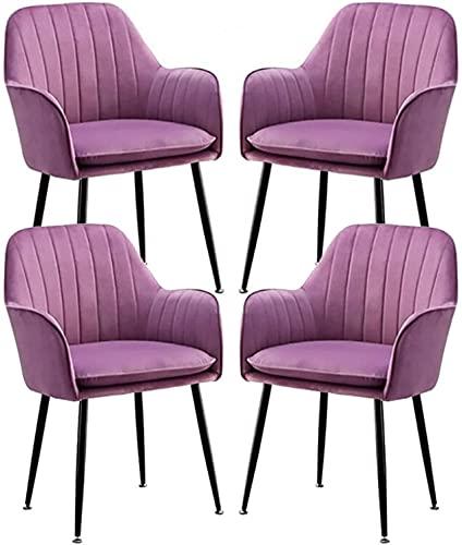 VEESYV Juego de 4 Sillas de Comedor Asiento Tela Terciopelo Dorado Patas Metal Sala Estar Dormitorio Cocina Sillas Comedor Muebles Modernos (Color : Purple)