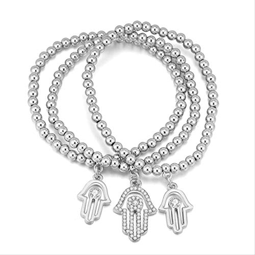 Evil Eye Bracelet Turkish Cz Crystal Small Charm Hand Of Hamsa Bracelets For Women Elastic Chain Fashion Bead Jewelry Gifts