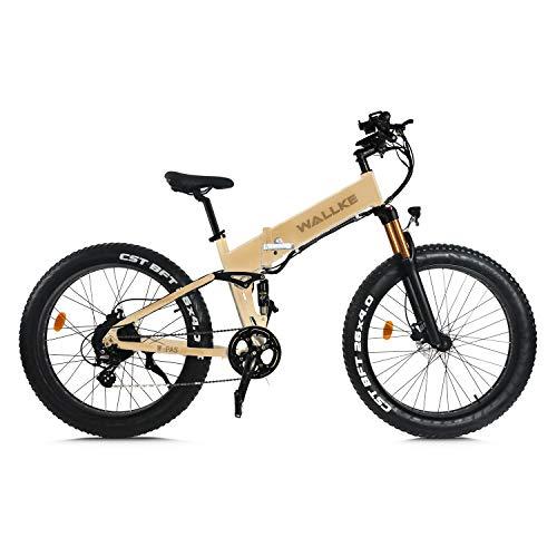 W WALLKE X3 Pro26-inch Fat Tire Electric Bicycle 48V14AH Samsung Lithium Battery Adult Auxiliary Bike 750W Mountain Snow E-Bike (Desert tan)