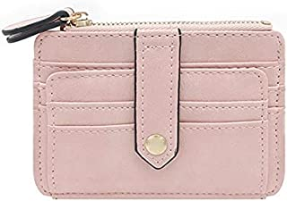 HIIHHIIHIqb Wallet Purse, Women Leather Slender Card Holder Wallet Men Mini Wallets Zipper Card Money Holders Vintage Shor...