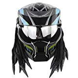 NNYY Casco de motocross, Jagged Warrior Casco Alien Predator Casco de visera completa Harley Motorcycle Vintage Alternativo Casco, Carbono Plata, L