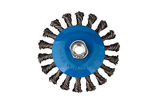 3 Kegelbürsten Ø 125 mm – gezopfte Schleifbürste – M14 x 2 Drahtbürste/Kegelbürste/Drahtbürste