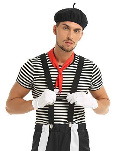 TiaoBug Herren Franzosen Pantomime Darsteller Schauspieler Kostüm Set Streifen T-Shirts Y Form Hoseträger Baskenmütze Halstuch Handschuhe Fasching Karneval Verkleidung Schwarz XX-Large