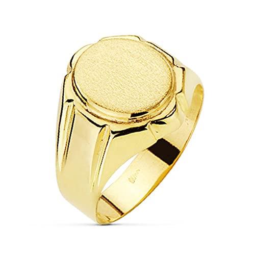 Sello oro 18k hombre anillo hueco detalles laterales largos - Personalizable - GRABACIÓN INCLUIDA EN EL PRECIO