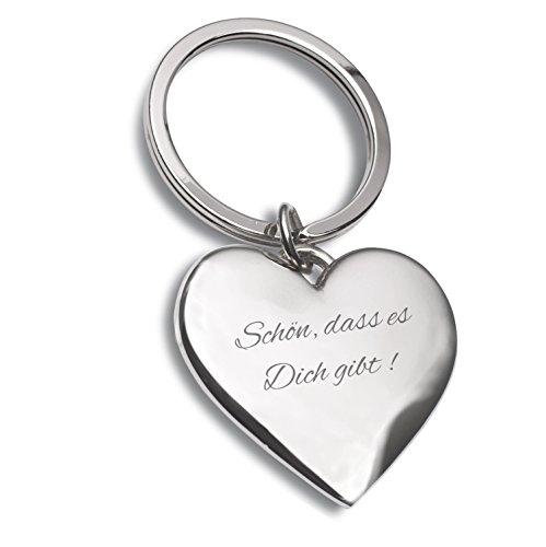 Laser Tattoo Schlüsselanhänger Herz Silber mit Gravur Schön, DASS es Dich gibt ! - Ideal als Geschenkidee am Valentinstag oder für Verliebte