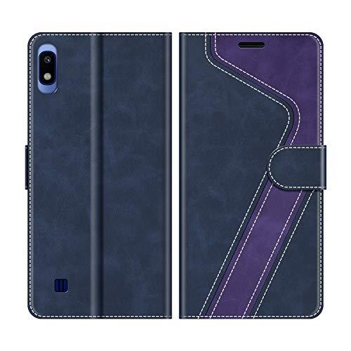 MOBESV Handyhülle für Samsung Galaxy A10 Hülle Leder, Samsung Galaxy A10 Klapphülle Handytasche Case für Samsung Galaxy A10 / Galaxy M10 Handy Hüllen, Dunkelblau/Violett