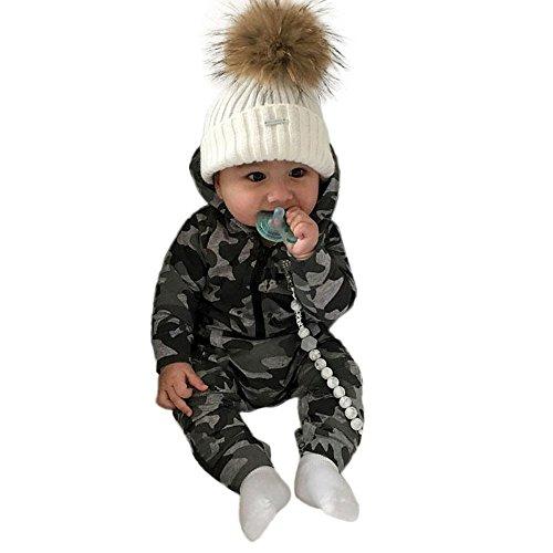 Baby Jungen Mädchen Strampler Jumpsuit,Kleinkind Camouflage Print Spielanzug Jumpsuit Kleidung Outfits Mit Kapuze,Neugeborenes Langarm Overall Herbst Winter Outfit Hooded Strampler Kinderkleidungset