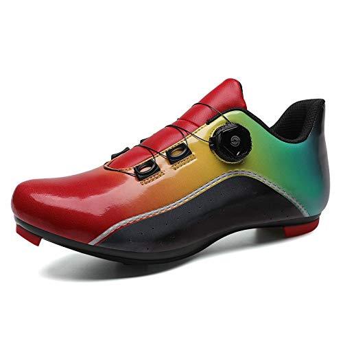 Zapatillas de Ciclismo para Hombres y Mujeres - Zapatillas de Ciclismo de Carretera con Tacos SPD Zapatillas de Bicicleta de Carretera Profesionales autobloqueantes para Carreras