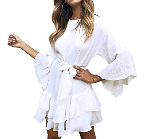 HenzWorld Vestido Informal de Color Sólido para Mujer con Volantes Dobladillo Oscilante Ligero Falda Corta Manga de Campana 3/4 para Mujer Minivestido de Línea A Blanco Talla XL