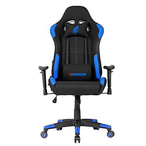 Silla de escritorio de carreras para videojuegos, silla de oficina ajustable con soporte lumbar, diseño ergonómico con cojín y respaldo reclinable, color azul