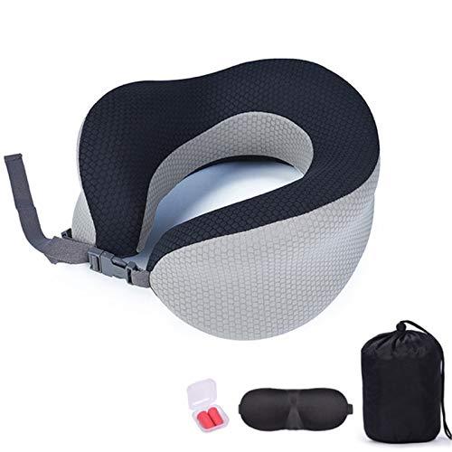 ZHANGZHIYUA Travel Pillow, 100% Pure Memory Foam Neck Pillow for Airplane Travel, Machine Washable, Sleep Mask, Earplugs, Portable Bag,Gray