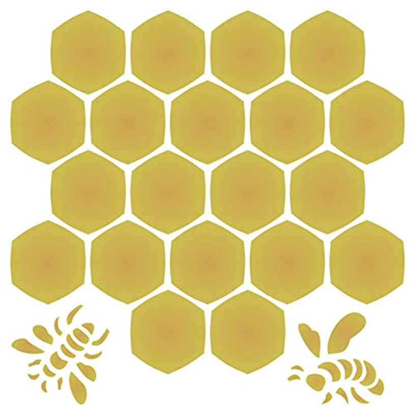 Honeycomb Stencil - 14 x 14 inch (L) - Large Reusable Bee Honey Comb Hexagon Wall Stencil Template - Use on Paper Projects Scrapbook Journal Walls Floors Fabric Furniture Glass Wood etc.