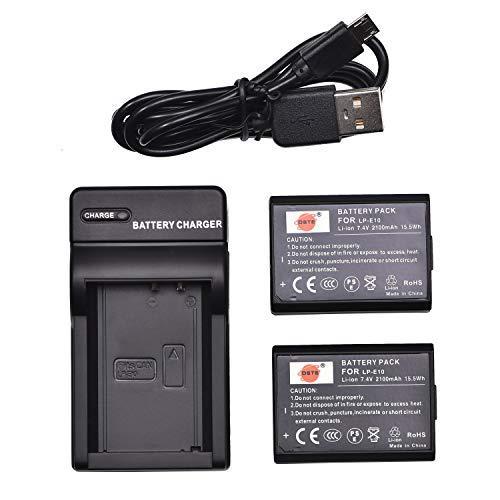 DSTE LP-E10 - Batería y cargador para cámara Canon EOS 1100D, 1200D, X50, X70, Rebel T3, Rebel T5 (2 unidades)