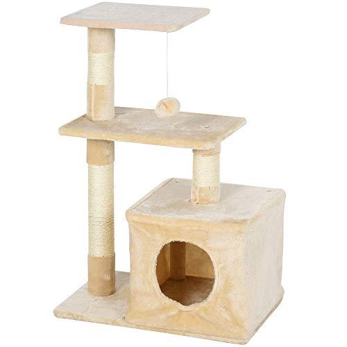 Pawhut Árbol Rascador para Gatos Centro de Múltiples Actividades de Mascotas con Postes Sisal Plataformas Caja Bola Colgante Estilo Elegante 50x30x80 cm Beige