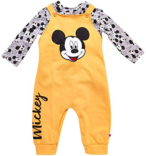 Disney Baby Boys Mickey Mouse 2PC Overall Set - Fleece Romper & Long Sleeve T-Shirt (Newborn/Infant), Size 0-3M, Gold/Graphic Mickey White