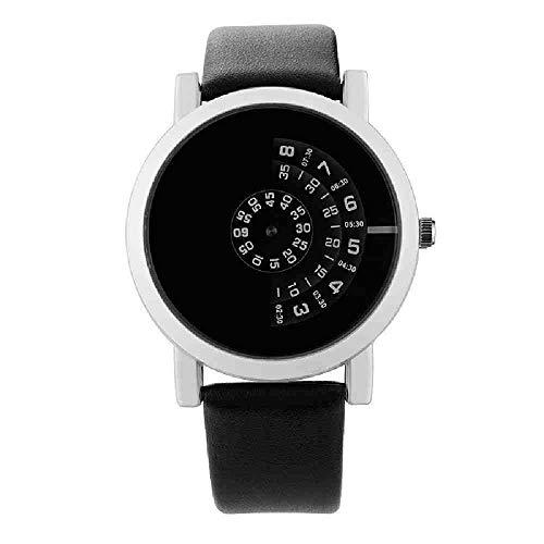 BDDLLM Reloj de Pulsera Giradiscos de Moda Reloj de Pareja Hombres Mujeres Relojes Reloj Creativo Reloj de Cuero Amado Sevgili i, Negro Blanco