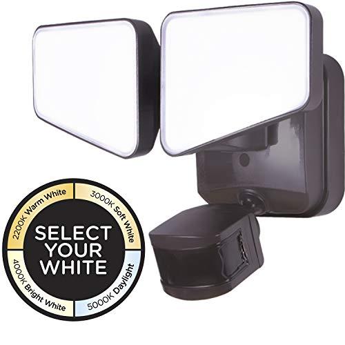 Enbrighten 2-in-1 LED Outdoor Flood Security Light, Motion Sensor, 2480 Lumens, 2 Adjustable, Selectable Color 2200K-5000K, Driveway, Patio, Front Yard, Garage, 40768, Bronze 2 Head