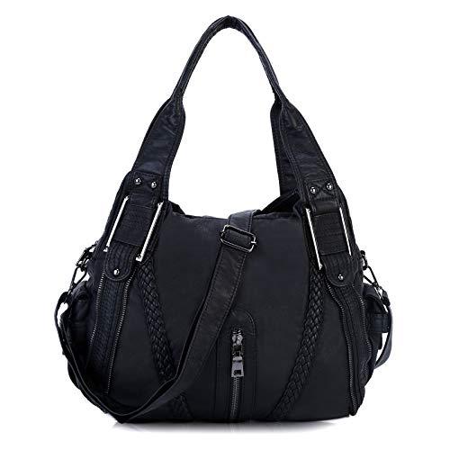 Borsa da donna in morbida pelle lavata, borsa a tracolla elegante e spaziosa, borsa Tote Cabs-Nero