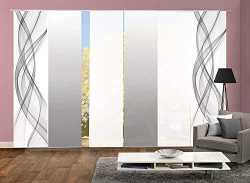 Home Fashion 96675 | 6er-Set Schiebegardinen FERROL | blickdichter Dekostoff & transparenter Halborganza | 6X jeweils 245x60 cm | Farbe: (grau)
