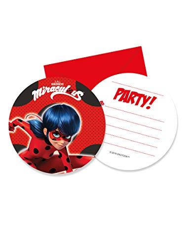 Miraculous Ladybug Einladungskarten mit Umschlägen, 6 Stück