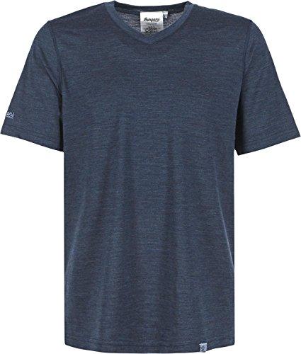 Bergans Herren Bloom Wool T-Shirt, Navy Melange, XXL