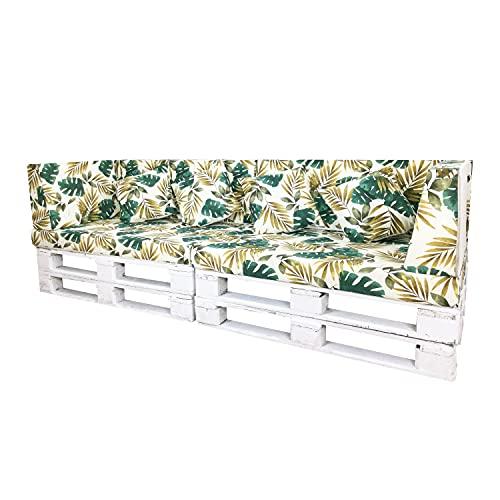 Conjuntos de Cojines para Sillones de Palets / Estampados con Motivos de Hojas Tropicales / Decora tu Jardín, Terraza o Balcón (Palmeras Doradas, 10)